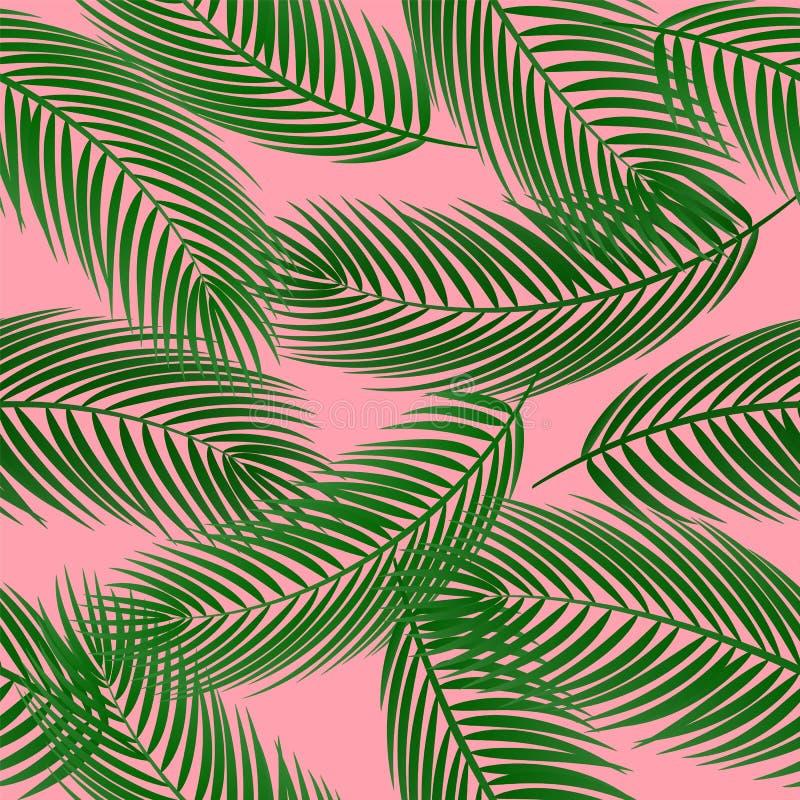 Gullig sömlös modell för vektor med palmblad på rosa bakgrund stock illustrationer