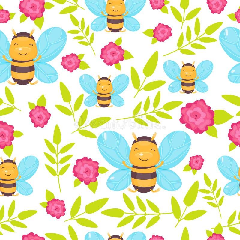 Gullig sömlös modell med bin, gröna sidor och rosa blommor Plan illustration f?r tecknad film Kawaii royaltyfri illustrationer