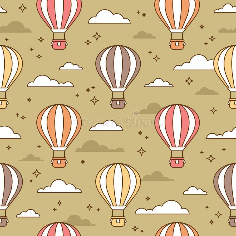 Gullig sömlös modell med färgrika luftballonger vektor illustrationer
