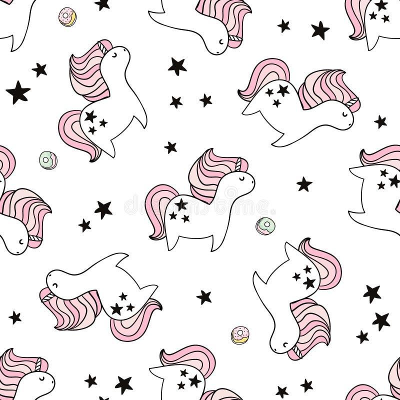 Gullig sömlös modell med felika enhörningar och donuts Barnslig textur för tyg, textil Skandinavisk stil royaltyfri illustrationer