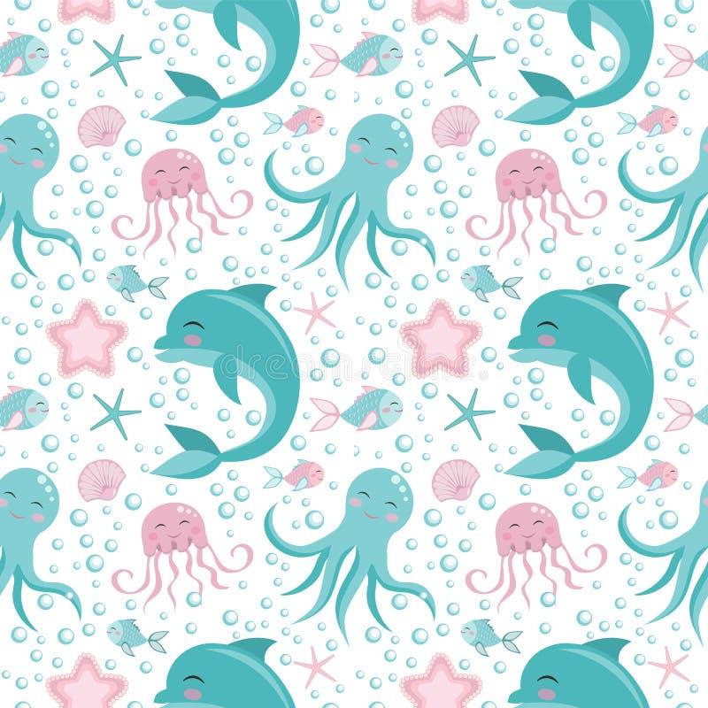 Gullig sömlös modell med havsdjur Bläckfisk delfin, manet, skal, fisk, sjöstjärna Undersea värld royaltyfri illustrationer
