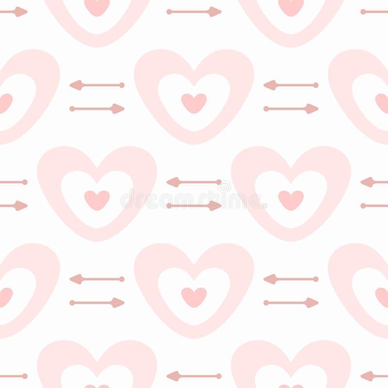 Gullig sömlös modell med hjärtor och pilar Romantiskt tryck vektor illustrationer