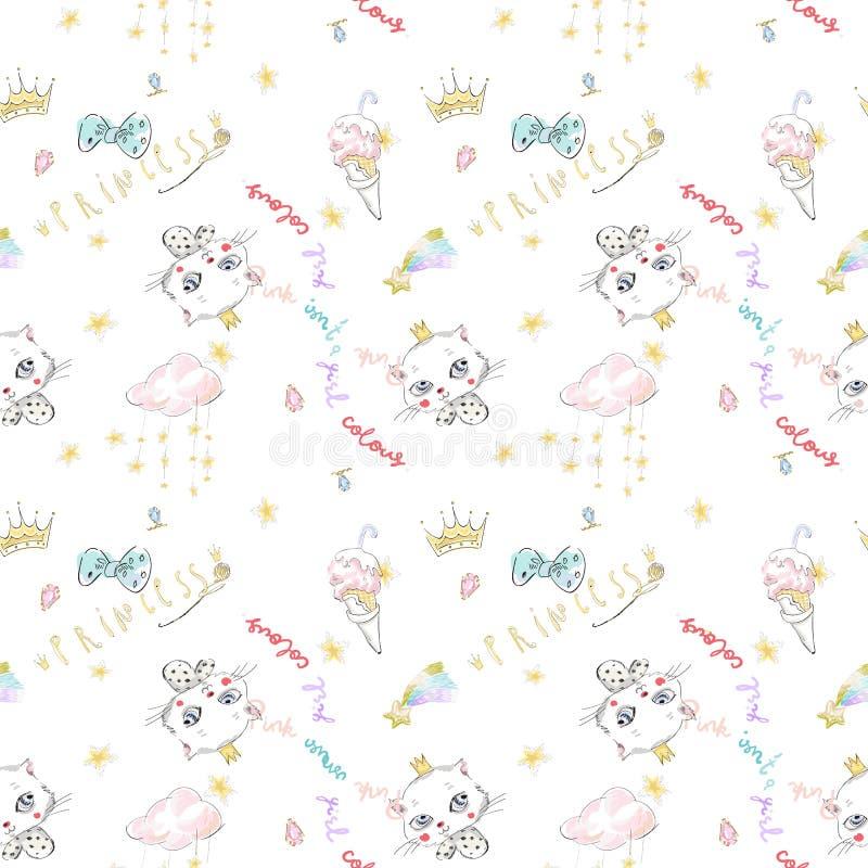 Gullig sömlös modell med prinsessakatten, kronor och glass royaltyfri illustrationer
