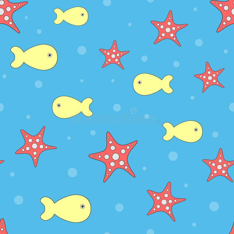 Gullig sömlös modell med sjöstjärnan och fisken vektor illustrationer