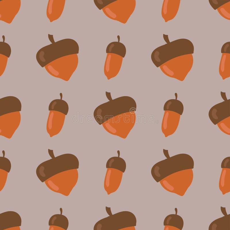 Gullig sömlös modell som göras av brun illustration för vektor för design för skog för säsong för nedgång för natur för ekollonba royaltyfri illustrationer