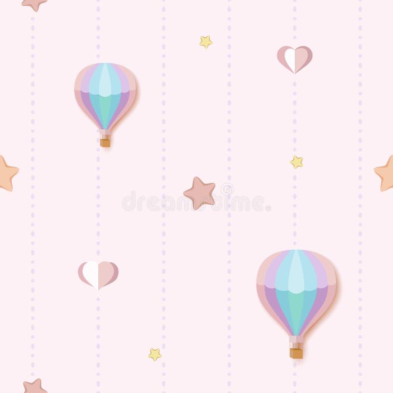 Gullig sömlös modellbakgrund med färgrika stjärnor, hjärtor och ballonger för varm luft Sömlös rosa färgmodell med prickiga band stock illustrationer