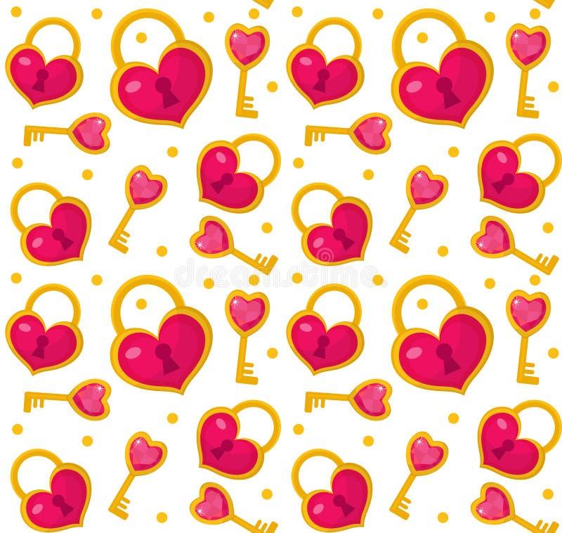 Gullig sömlös modellvalentindag med hjärtalåset, tangent Förälskelse ändlös romans vektor illustrationer