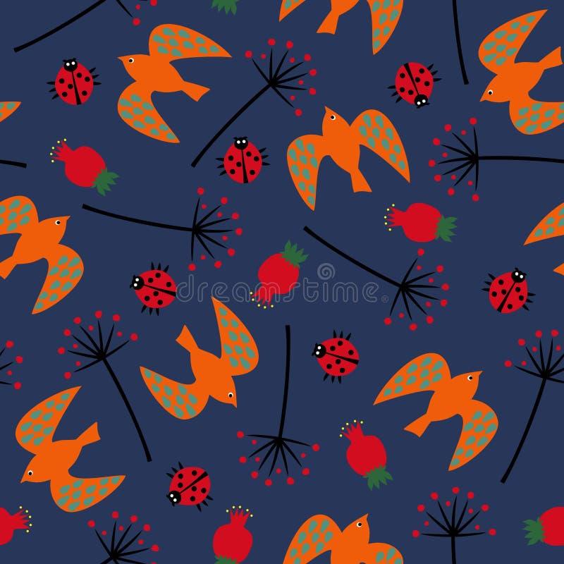 Gullig sömlös naturmodell med pippin, nyckelpiga, rosa höft, maskros Botanisk illustration för sommar Naturlig dekorativ backgrou stock illustrationer