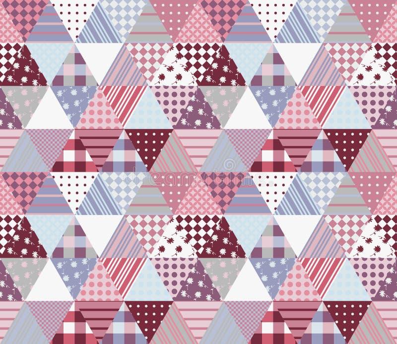 Gullig sömlös patchworkmodell Vektorillustration av täcket vektor illustrationer