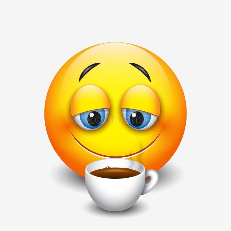 Gullig sömnig emoticon som dricker kaffe, emoji, smiley - vektorillustration royaltyfri illustrationer