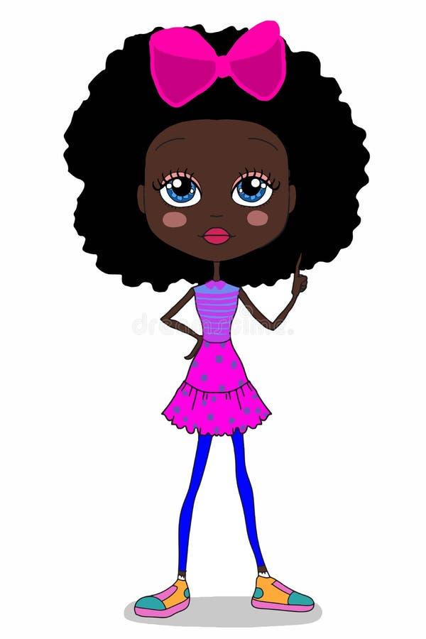Gullig söt illustration för tecken för flicka för lockigt hår för tecknad film som drar vit bakgrund vektor illustrationer