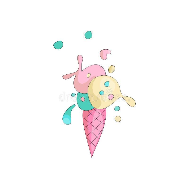 Gullig söt kulör glass med den rosa tecknad filmdillanden Söt sommarglassefterrätt Kulör icecreamsymbol med royaltyfri illustrationer