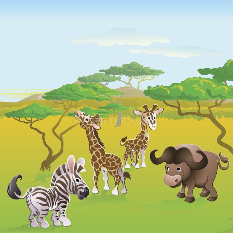 gullig safariplats för afrikansk djur tecknad film royaltyfri illustrationer