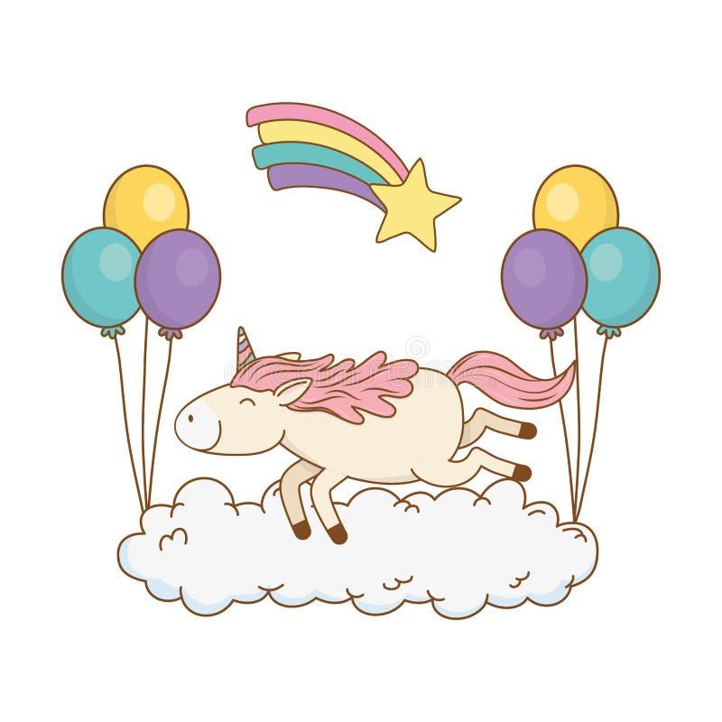 Gullig sagaenhörning med ballonger helium och regnbåge vektor illustrationer