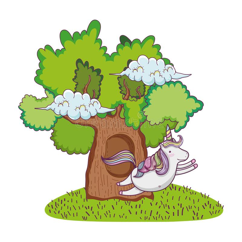 Gullig sagaenhörning med trädet stock illustrationer