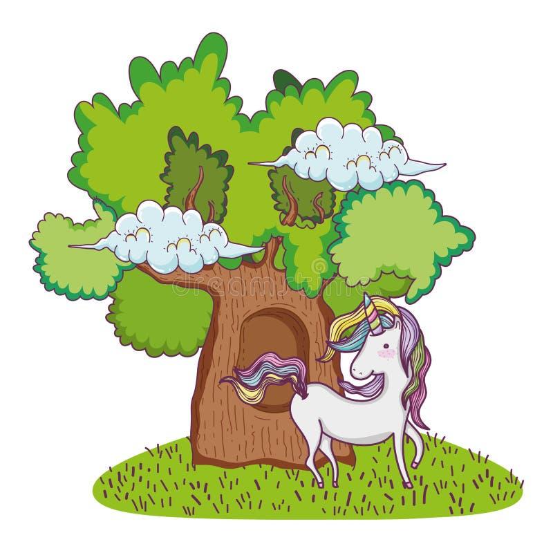 Gullig sagaenhörning med trädet vektor illustrationer