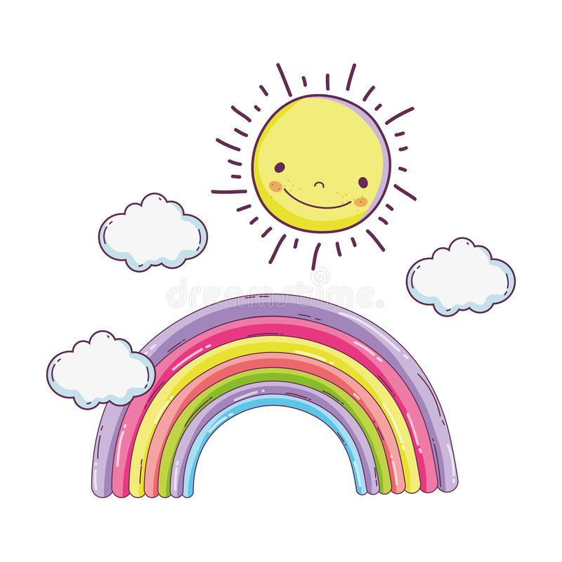 Gullig sagaregnbåge med solen stock illustrationer