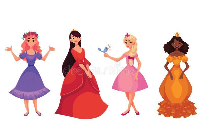 Gullig samling av härliga prinsessor vektor illustrationer