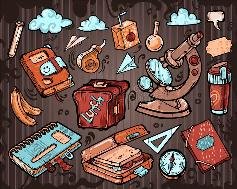 Gullig samling av objekt på temat tillbaka som ska skolas vektor illustrationer