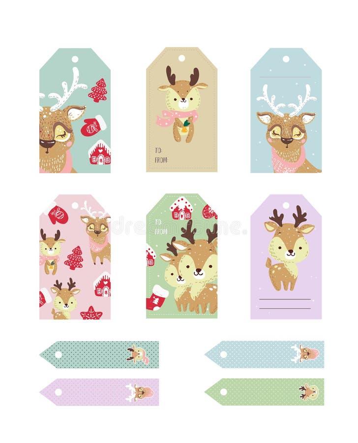 Gullig samling för juletiketter Etiketter med roliga hjortar med hatten och halsduken stock illustrationer
