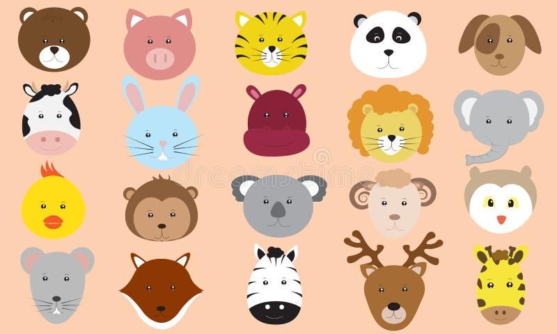 Gullig samling för vektor för djurframsidasymboler vektor illustrationer