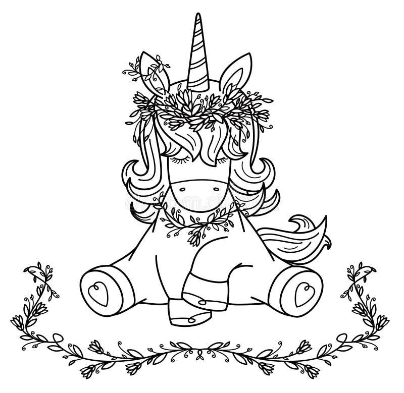 Gullig sammanträdeenhörning för vektor i krans royaltyfri illustrationer