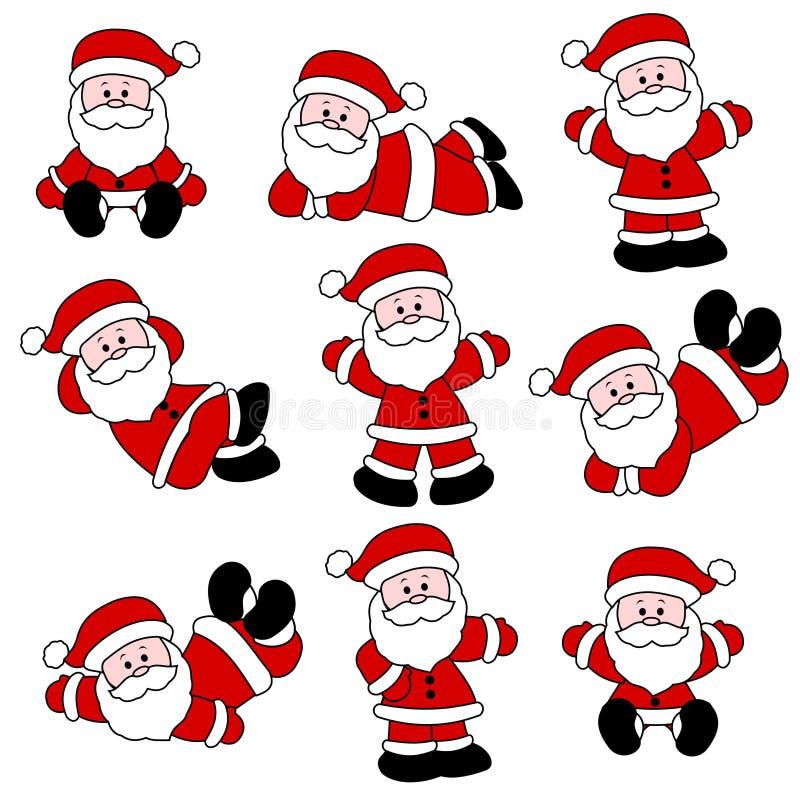 gullig santa set stock illustrationer