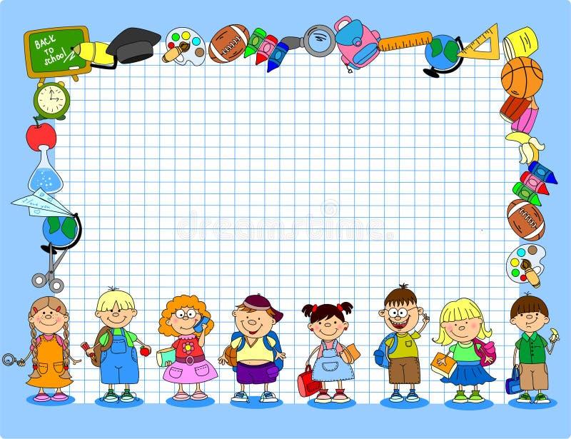 gullig schoolboysschoolgirlsvektor vektor illustrationer