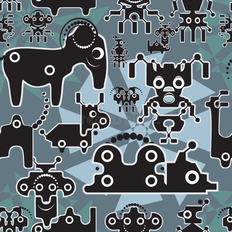 Gullig seamless modell för robot och för monster. stock illustrationer