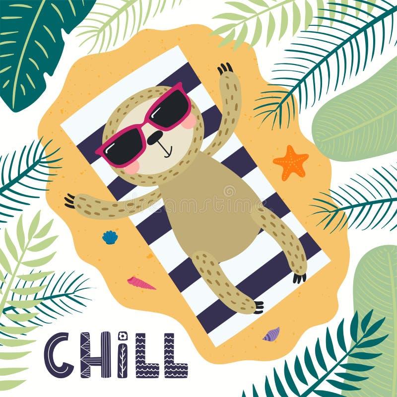 Gullig sengångare i sommar royaltyfri illustrationer