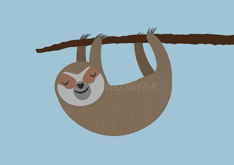 Gullig sengångare som hänger på trädfilial royaltyfri illustrationer