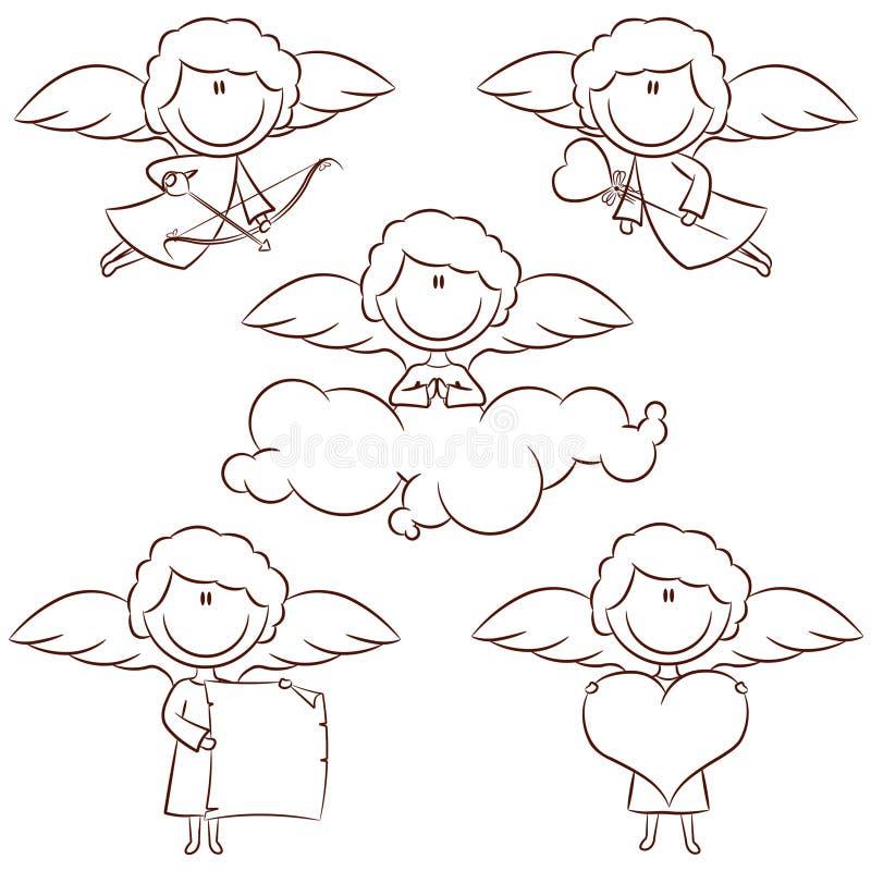 gullig set för cupid vektor illustrationer