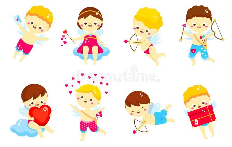 gullig set för cupid Tecken för dag för tecknad filmSt-valentin Amur pojkar Isolerade änglar i olikt poserar för romantisk valent vektor illustrationer