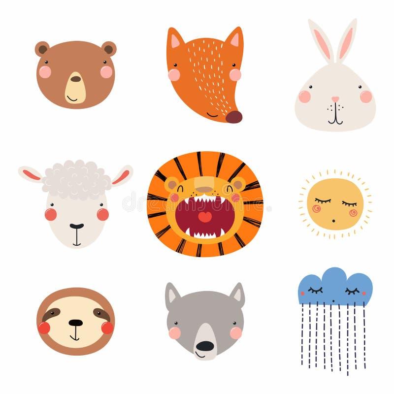 gullig set för djur vektor illustrationer