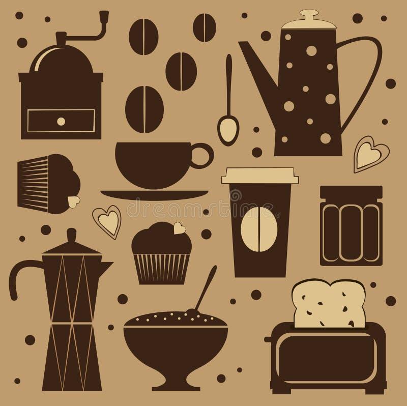 gullig set för kaffe royaltyfri illustrationer