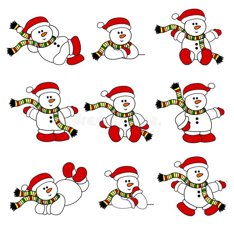 gullig setsnowman för jul vektor illustrationer