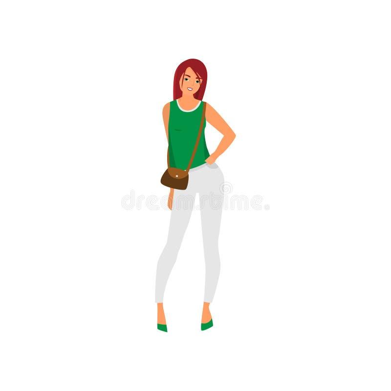 Gullig sexig ung kvinna i vita flåsanden och grön väst royaltyfri illustrationer