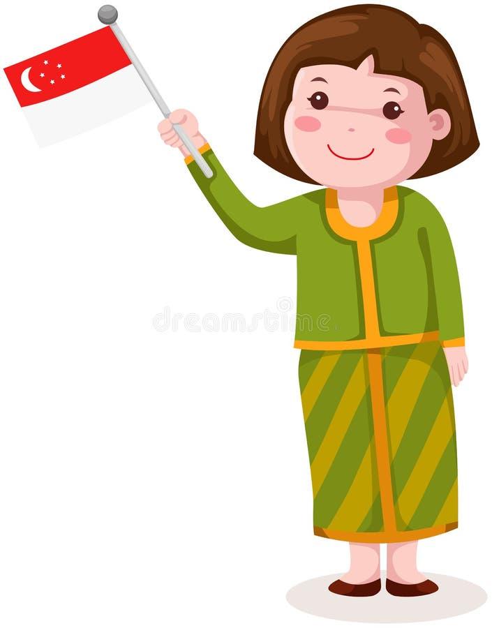 Gullig singapore flicka i traditionell kläder med flaggan stock illustrationer