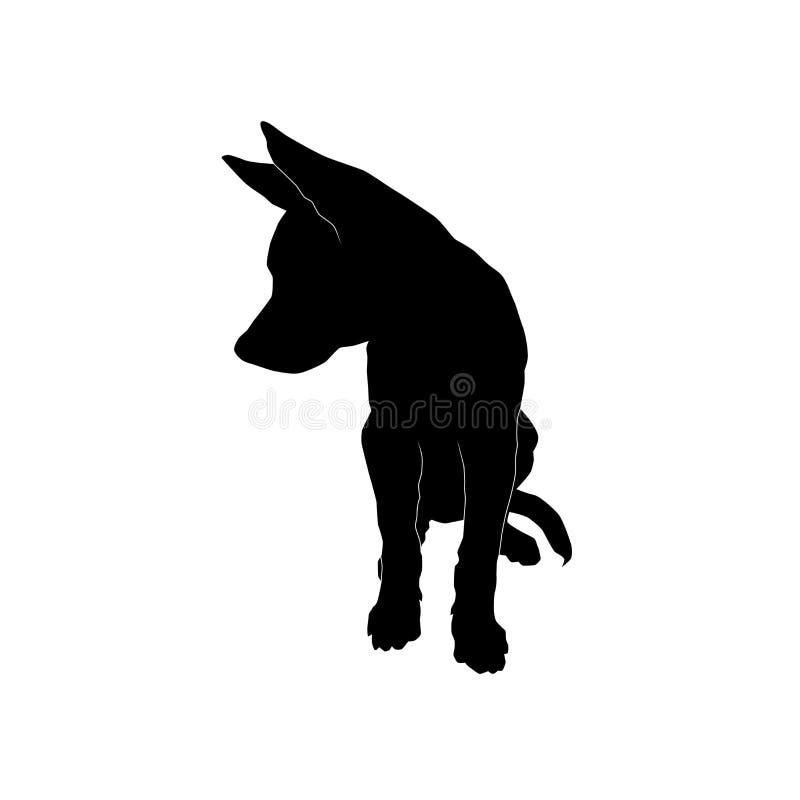 Gullig sittande valp som ser sidosvartkonturn royaltyfri bild