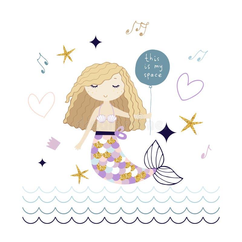 Gullig sjöjungfru med den guld- stjärnavektorillustrationen vektor illustrationer