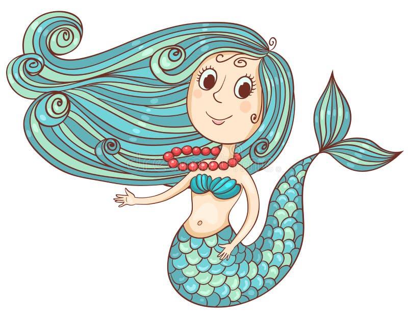 Gullig sjöjungfru med röda pärlor stock illustrationer