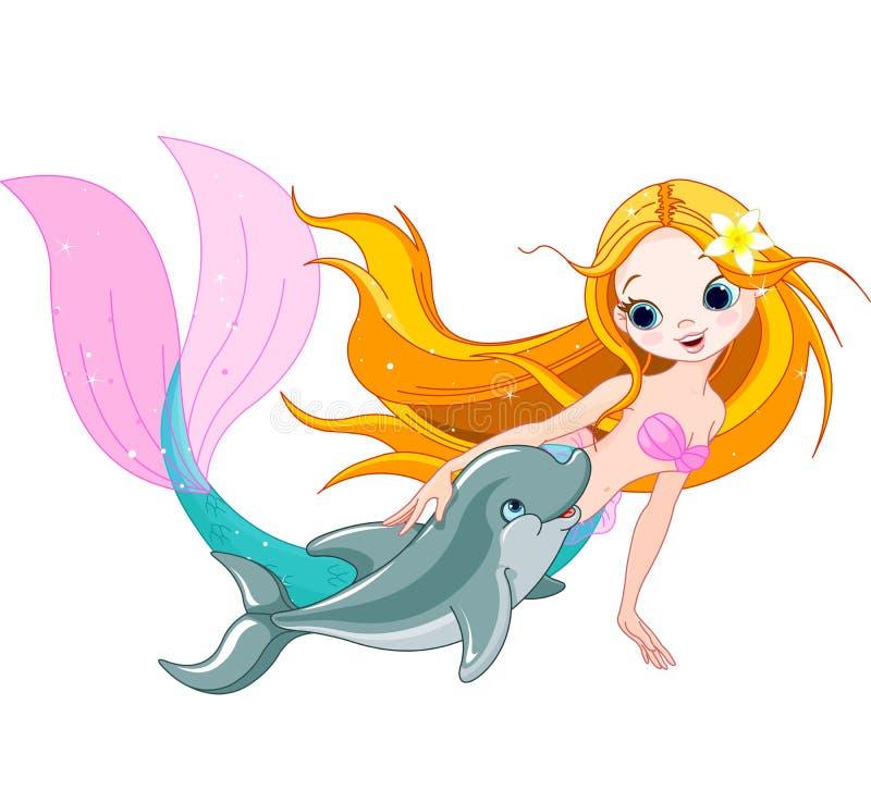 Gullig sjöjungfru och delfin stock illustrationer
