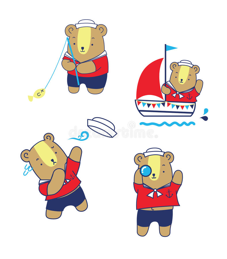 Gullig sjömanBear Cartoon Vector illustration stock illustrationer