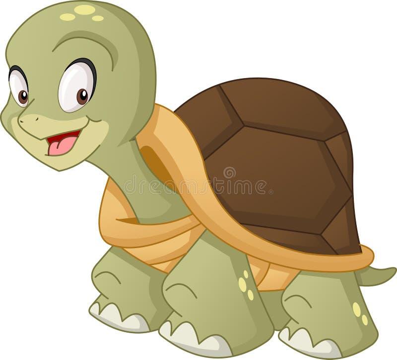 Gullig sköldpadda för tecknad film Vektorillustration av det roliga lyckliga djuret vektor illustrationer
