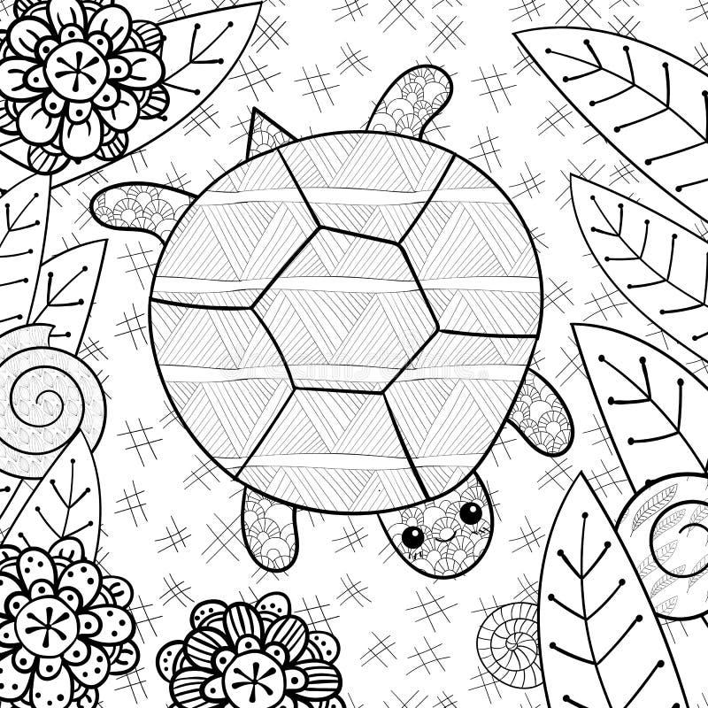 Gullig sköldpadda i trädgårds- vuxen sida för färgläggningbok royaltyfri illustrationer