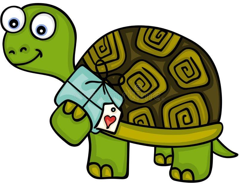 Gullig sköldpadda med gåvan royaltyfri illustrationer