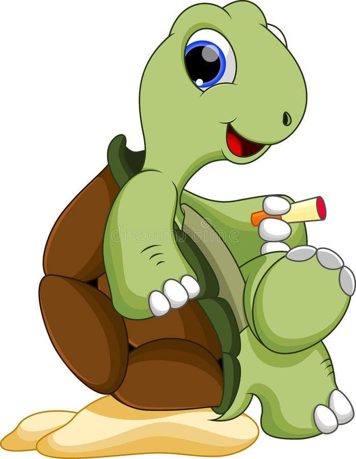 Gullig sköldpadda som rökas royaltyfri illustrationer