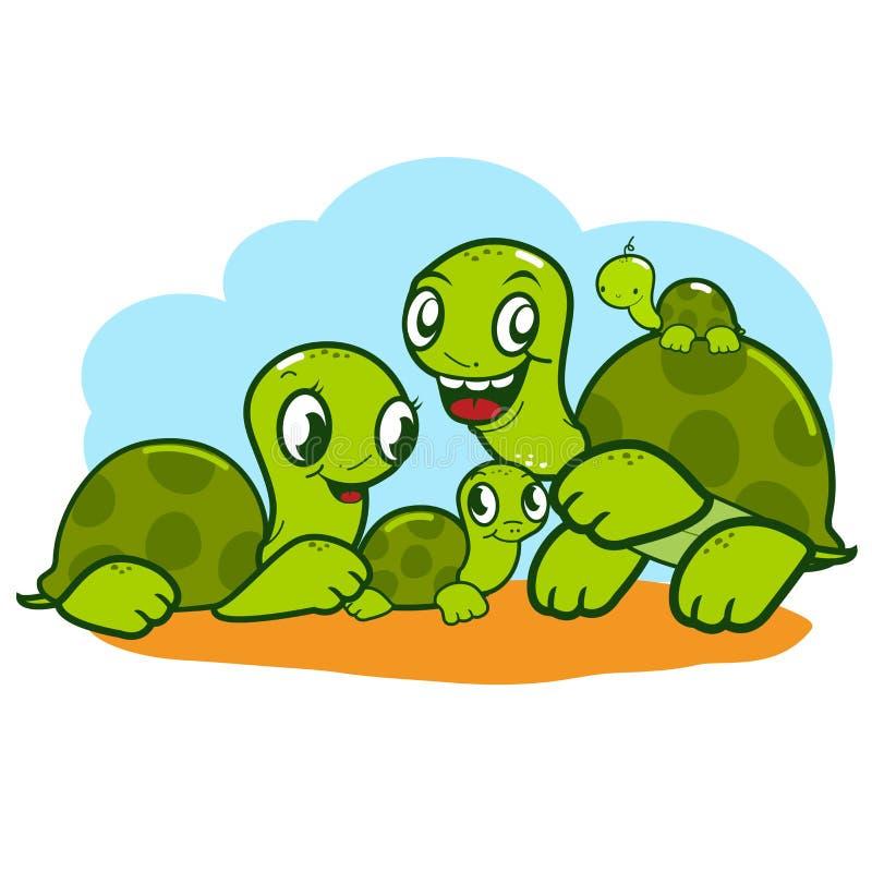 Gullig sköldpaddafamilj. vektor illustrationer
