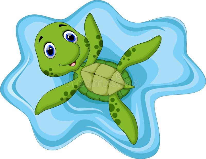 Gullig sköldpaddatecknad film royaltyfri illustrationer