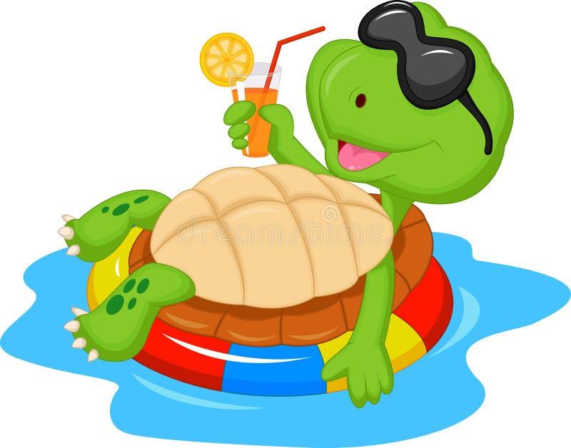 Gullig sköldpaddatecknad film på uppblåsbarrunda royaltyfri illustrationer